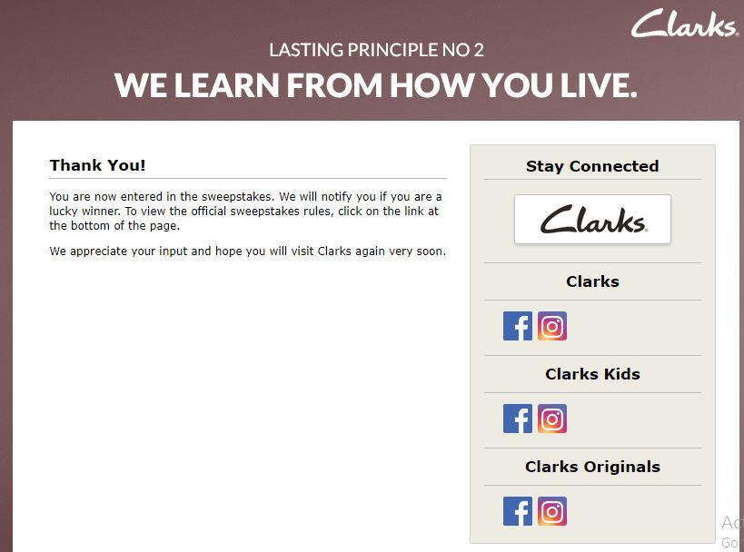 My Clarks Visit Survey 5