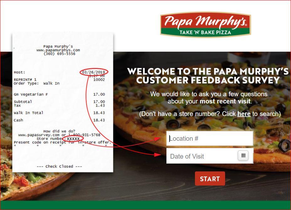 Papa Murphys Survey 1st page