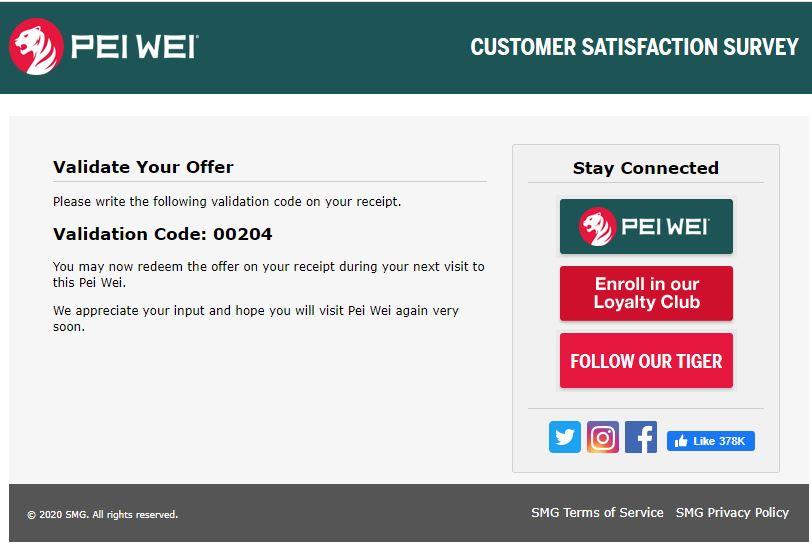 pei wei customer survey
