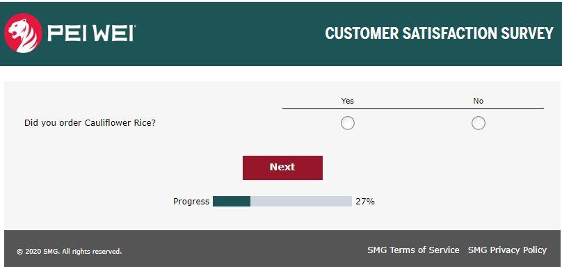 pei wei feedback survey