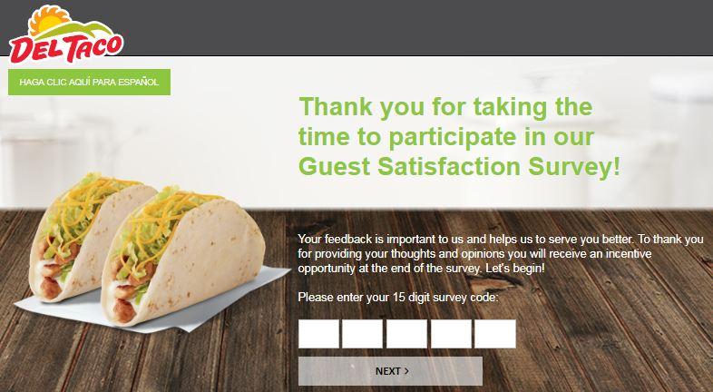 Del taco Survey 1st Page