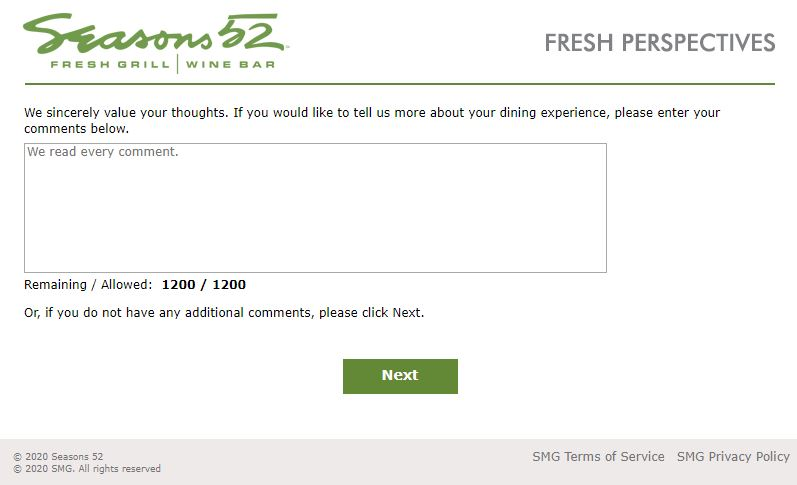 Seasons 52 Survey