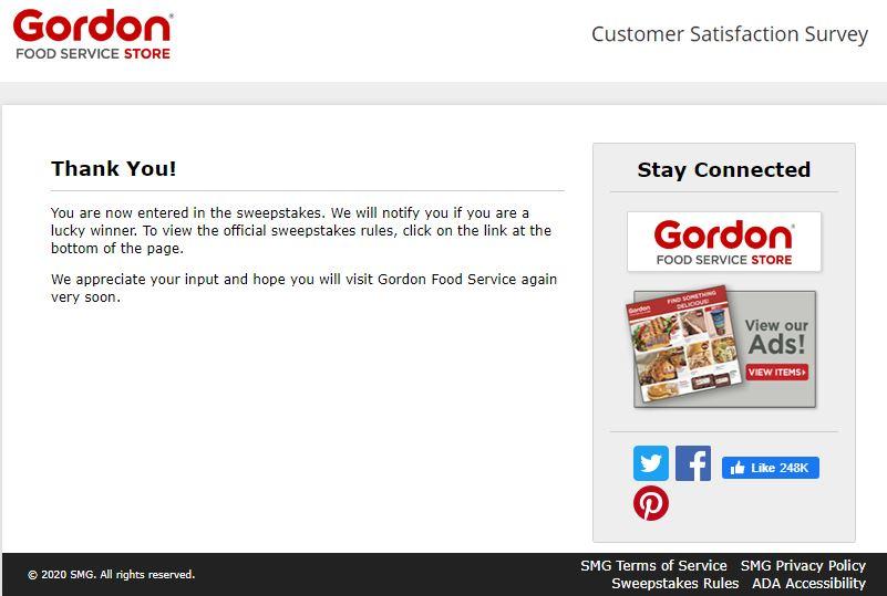 Gordon Food Service Store Survey
