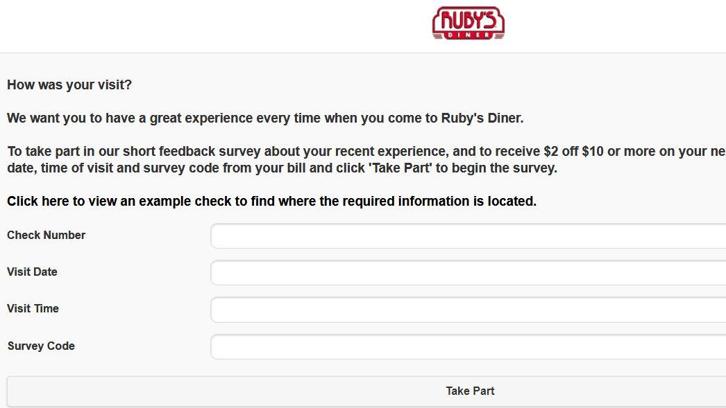 Rubys Diner Feedback Survey