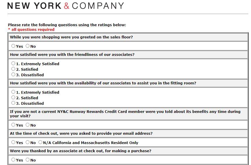 New York & Company Survey
