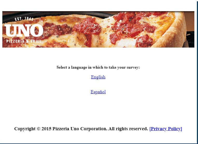 Uno Pizzeria Survey
