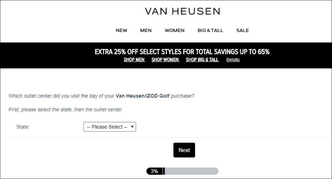 Van Heusen Customer Survey